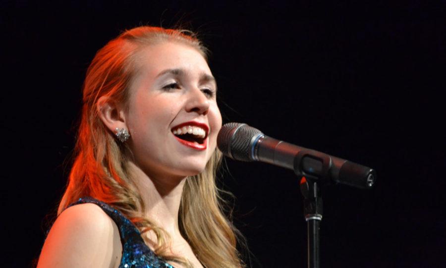 Senior Maria Fischer sings in a North Stars performance.